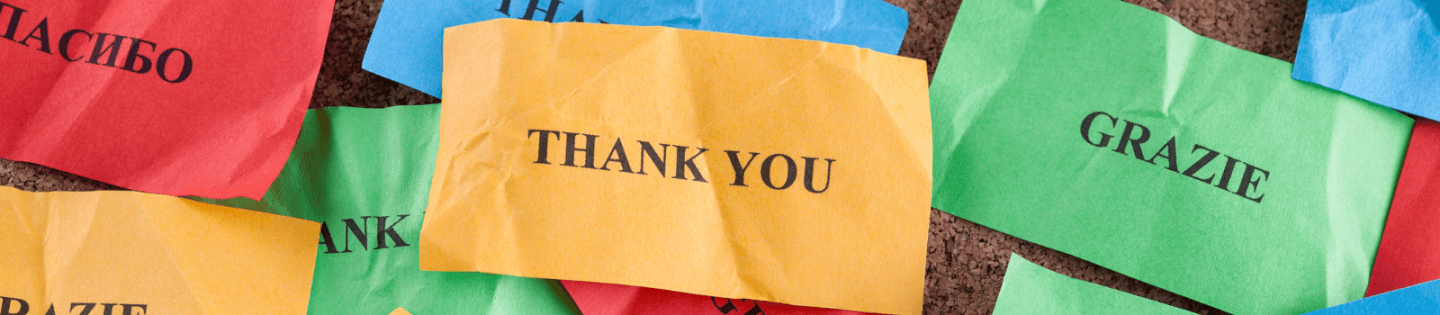 'Thank you' written in several different languages
