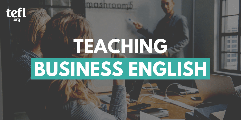 Boardroom with the words 'Teaching Business English' overlayed