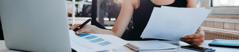 A woman doing paperwork