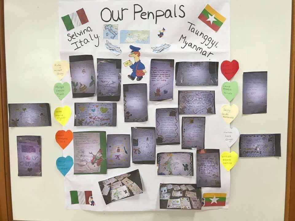 A classroom wall display of students' pen pals