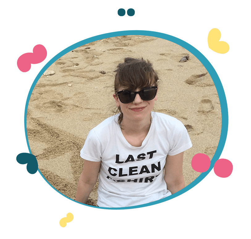 English teacher Helen on a beach