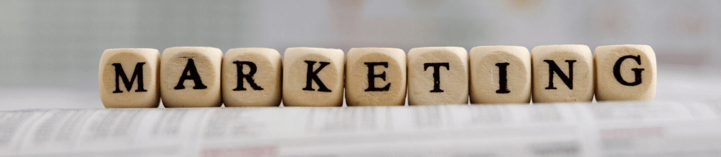 Wooden blocks spelling out the word 'marketing'