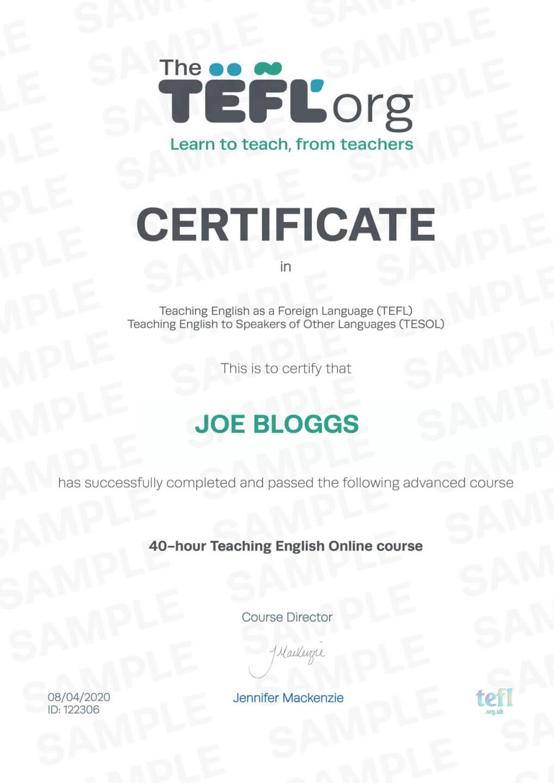 tefl certificate certificates sample samples cert