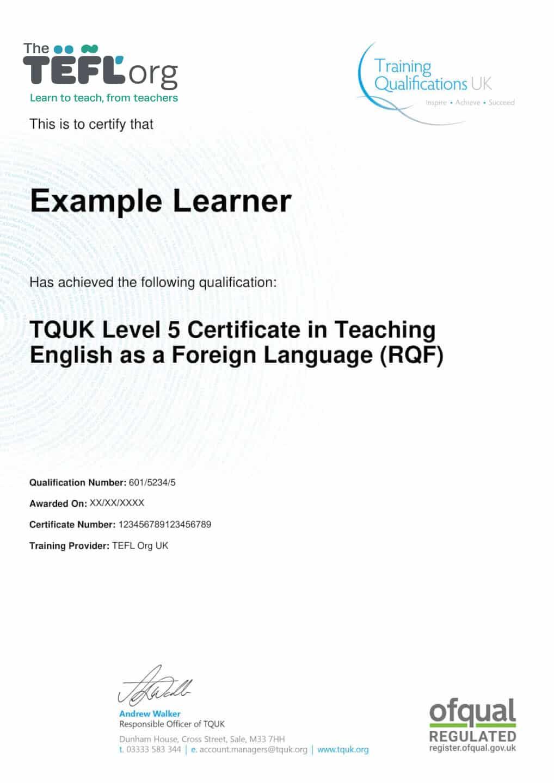 The TEFL Org TQUK Sample Certificate
