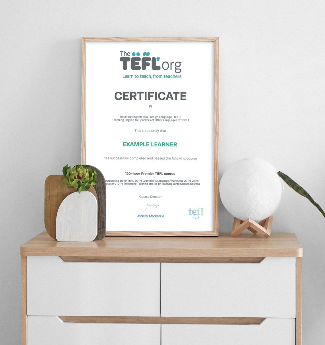The TEFL Org Certificate on Cabinet